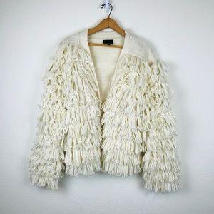 Lumiere Shaggy Boho Fringe Knit Cardigan Sweater